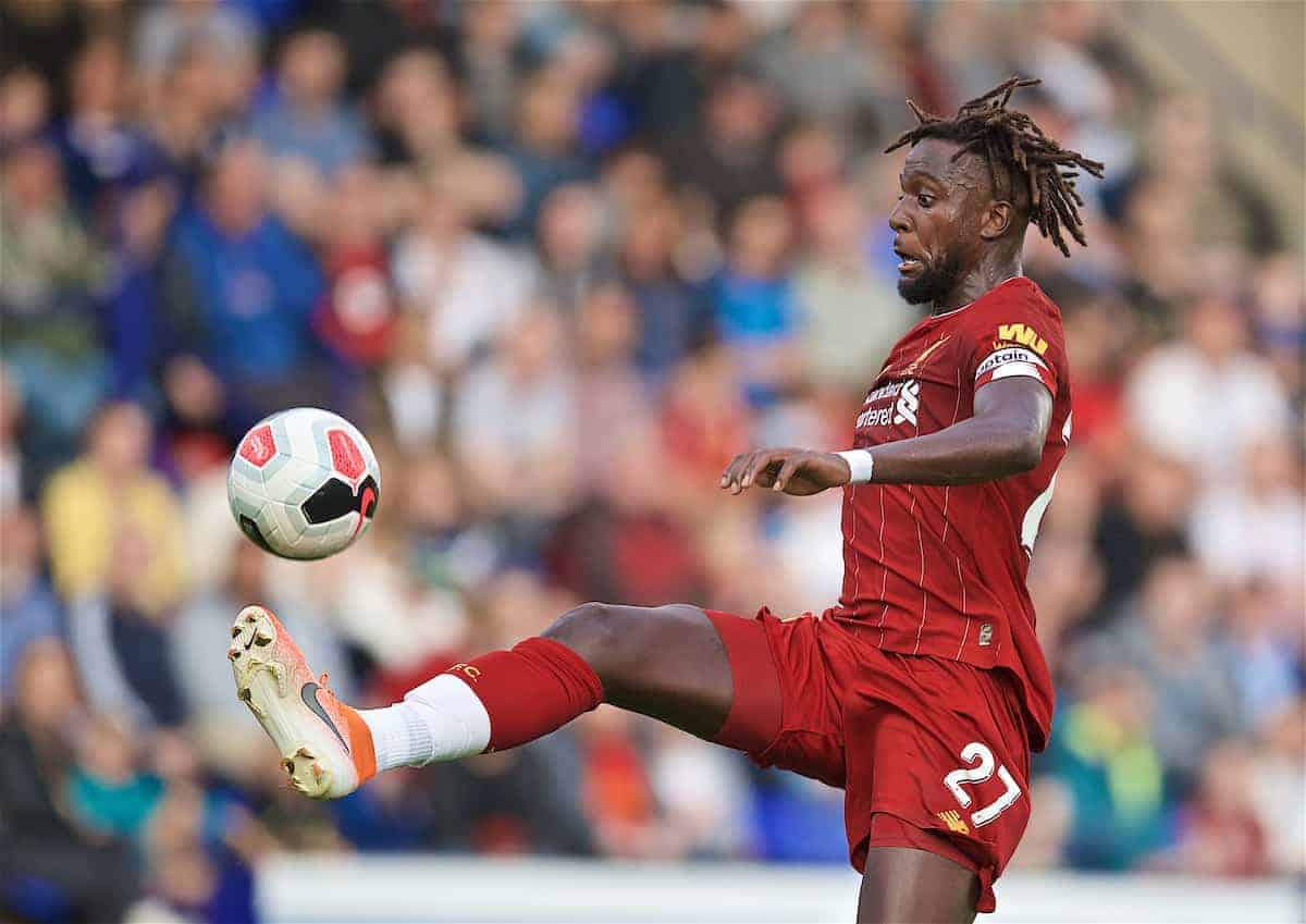 BIRKENHEAD, ENGLAND - Thursday, July 11, 2019: Liverpool's Divock Origi on his way to scoring the fifth goal during a pre-season friendly match between Tranmere Rovers FC and Liverpool FC at Prenton Park. (Pic by David Rawcliffe/Propaganda)