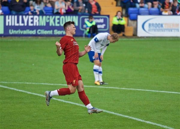 BIRKENHEAD, ENGLAND - Thursday, July 11, 2019: Liverpool's Bobby Duncan celebrates scoring the sixth goal during a pre-season friendly match between Tranmere Rovers FC and Liverpool FC at Prenton Park. (Pic by David Rawcliffe/Propaganda)