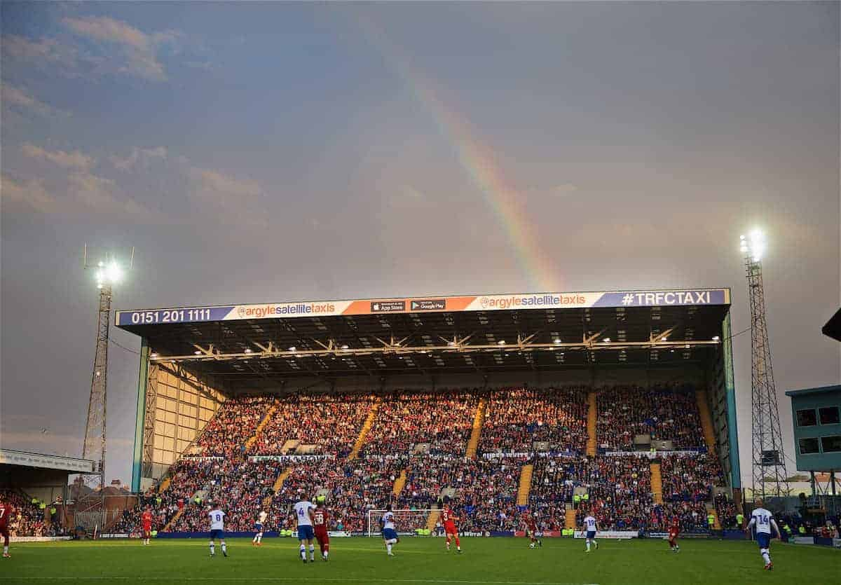 BIRKENHEAD, ENGLAND - Thursday, July 11, 2019: A rainbow emerges over the Kop stand during a pre-season friendly match between Tranmere Rovers FC and Liverpool FC at Prenton Park. (Pic by David Rawcliffe/Propaganda)