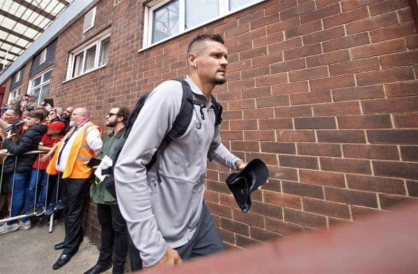 BRADFORD, ENGLAND - Saturday, July 13, 2019: Liverpool's Dejan Lovren arrives before a pre-season friendly match between Bradford City AFC and Liverpool FC at Valley Parade. (Pic by David Rawcliffe/Propaganda)