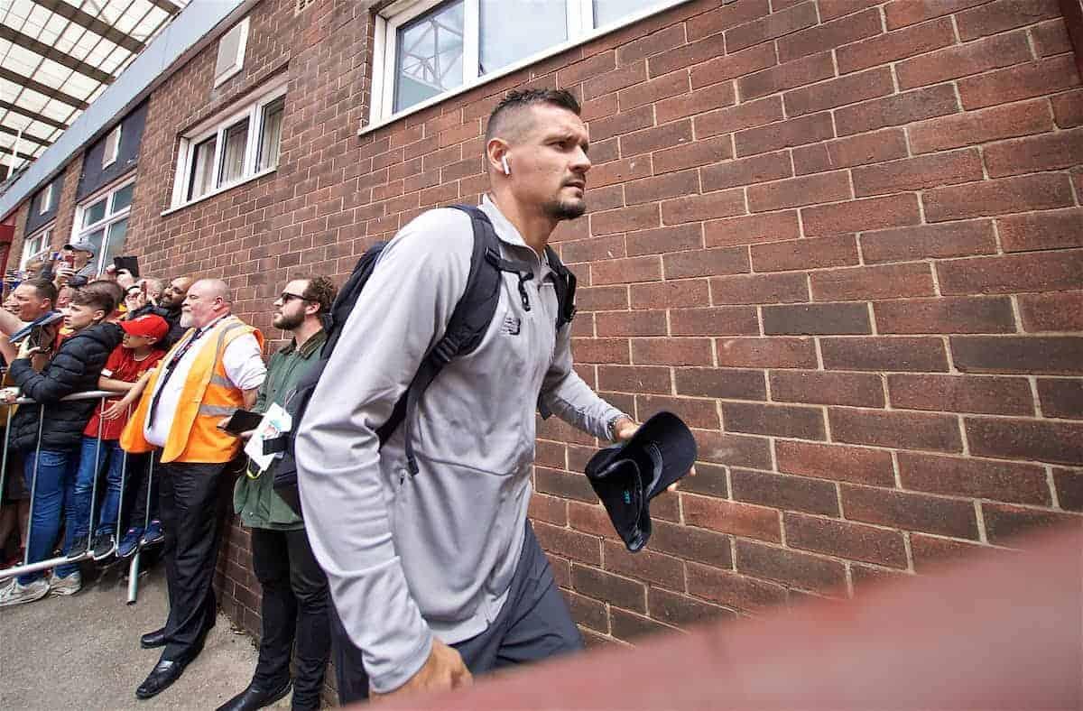 BRADFORD, ENGLAND - Saturday, July 13, 2019: Liverpool's Dejan Lovren arrives before a pre-season friendly match between Bradford City AFC and Liverpool FC at Valley Parade. (Pic by David Rawcliffe/Propaganda)