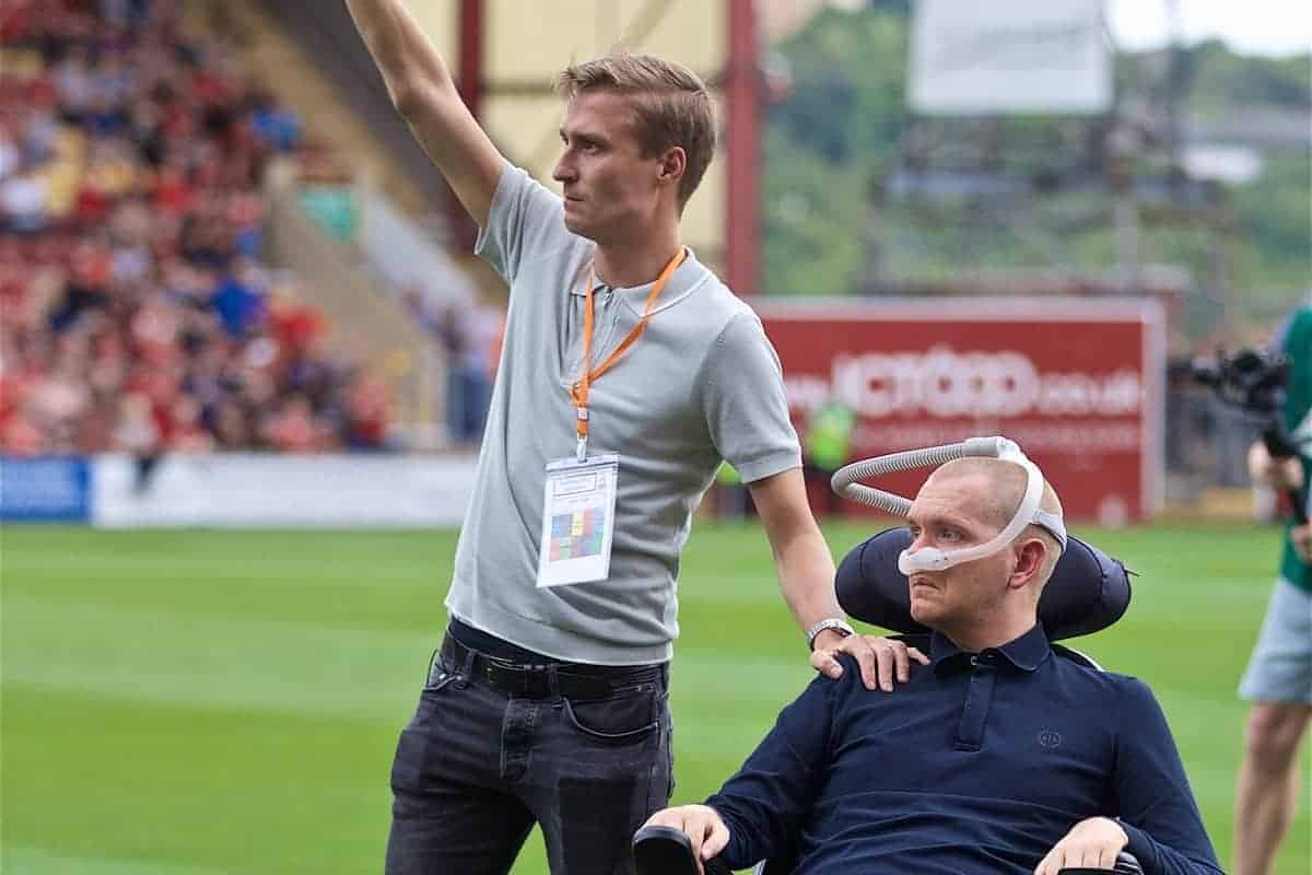 BRADFORD, ENGLAND - Saturday, July 13, 2019: Liverpool's Stephen Derby and Rimmer of the The Darby Rimmer MND Foundation before a pre-season friendly match between Bradford City AFC and Liverpool FC at Valley Parade. (Pic by David Rawcliffe/Propaganda)