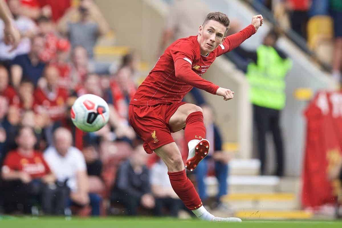 BRADFORD, ENGLAND - Saturday, July 13, 2019: Liverpool's Harry Wilson takes a free-kick during a pre-season friendly match between Bradford City AFC and Liverpool FC at Valley Parade. (Pic by David Rawcliffe/Propaganda)