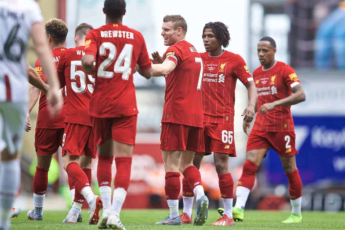 BRADFORD, ENGLAND - Saturday, July 13, 2019: Liverpool's James Milner celebrates scoring the first goal during a pre-season friendly match between Bradford City AFC and Liverpool FC at Valley Parade. (Pic by David Rawcliffe/Propaganda)