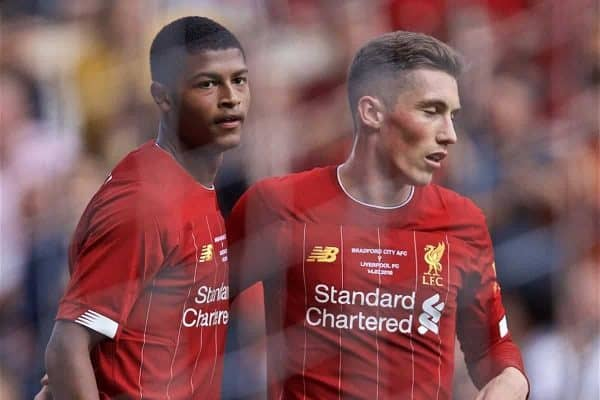 Liverpool's Rhian Brewster (L) celebrates scoring the third goal with team-mate Harry Wilson during a pre-season friendly match between Bradford City AFC and Liverpool FC at Valley Parade. (Pic by David Rawcliffe/Propaganda)