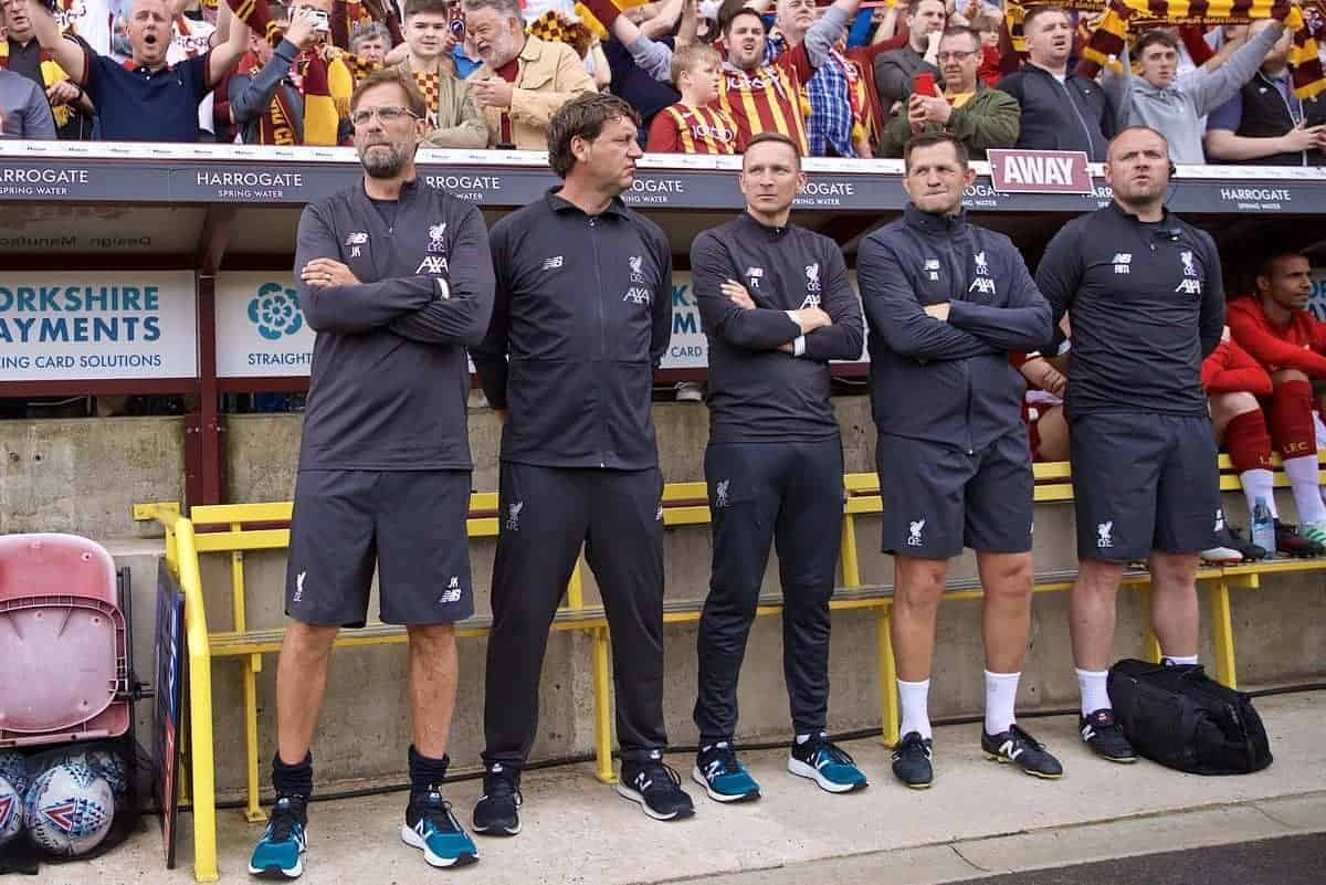 BRADFORD, ENGLAND - Saturday, July 13, 2019: Liverpool's manager Jürgen Klopp before a pre-season friendly match between Bradford City AFC and Liverpool FC at Valley Parade. (Pic by David Rawcliffe/Propaganda)