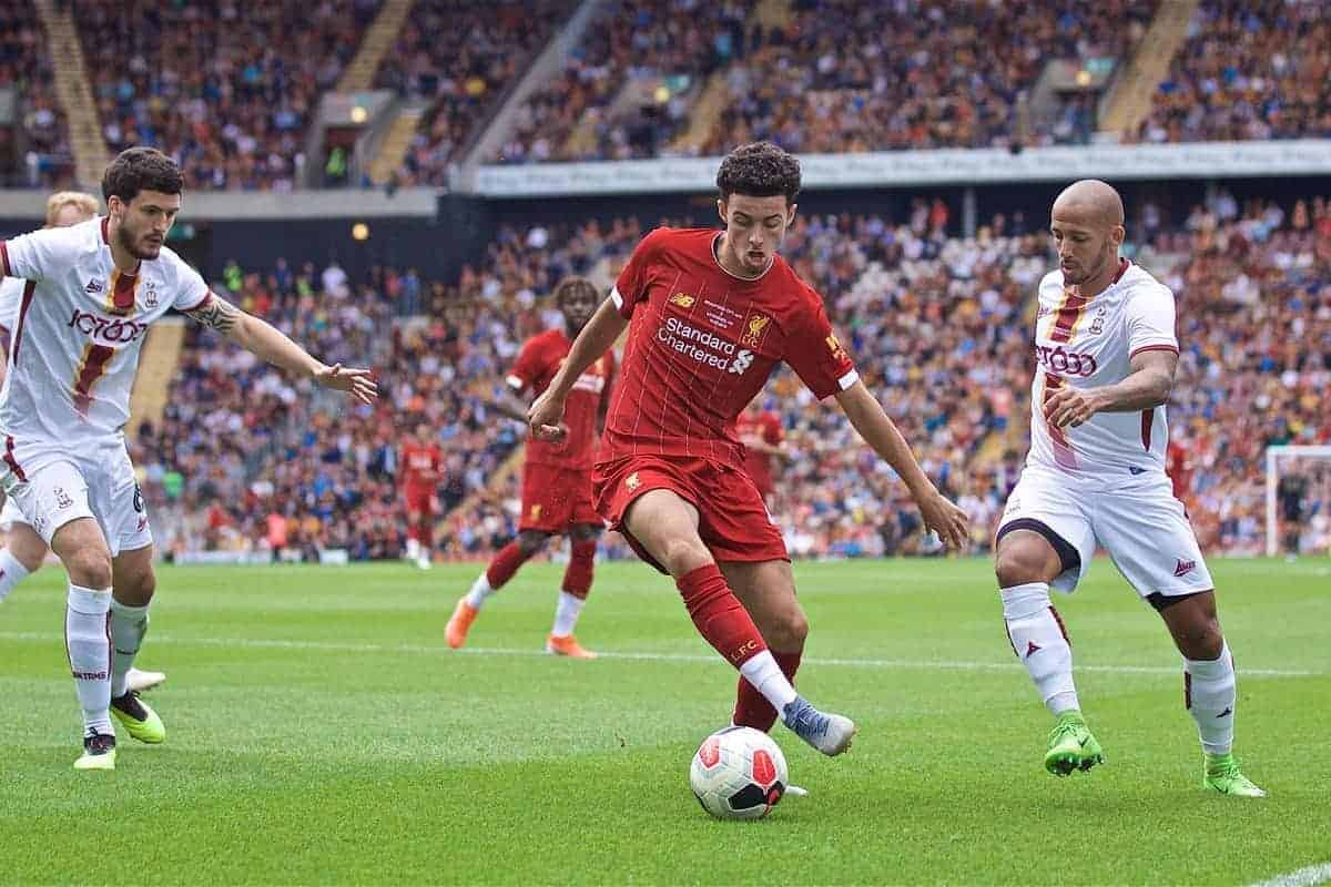 BRADFORD, ENGLAND - Saturday, July 13, 2019: Liverpool's Curtis Jones during a pre-season friendly match between Bradford City AFC and Liverpool FC at Valley Parade. (Pic by David Rawcliffe/Propaganda)