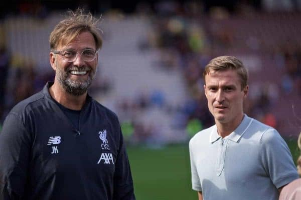 BRADFORD, ENGLAND - Saturday, July 13, 2019: Liverpool's manager Jürgen Klopp and Stephen Darby after a pre-season friendly match between Bradford City AFC and Liverpool FC at Valley Parade. (Pic by David Rawcliffe/Propaganda)