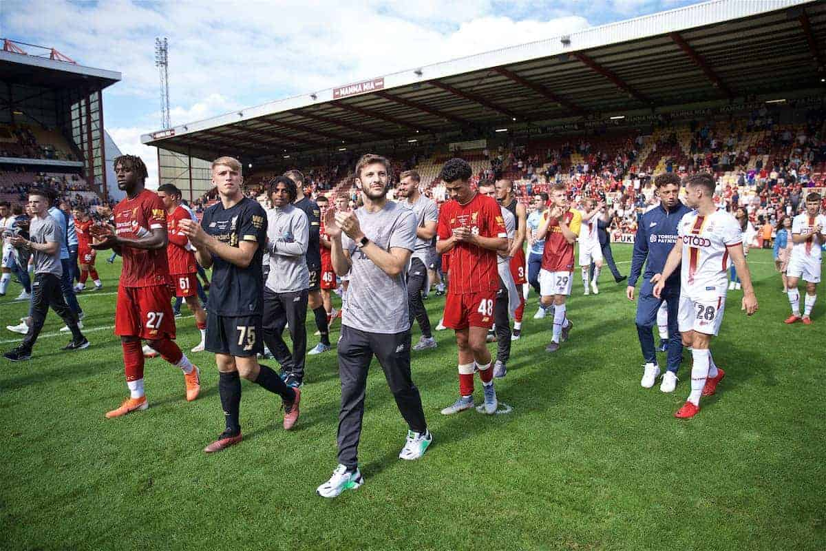 BRADFORD, ENGLAND - Saturday, July 13, 2019: Liverpool's Divock Origi, goalkeeper Daniel Atherton and Adam Lallana during a lap of honour after a pre-season friendly match between Bradford City AFC and Liverpool FC at Valley Parade. (Pic by David Rawcliffe/Propaganda)