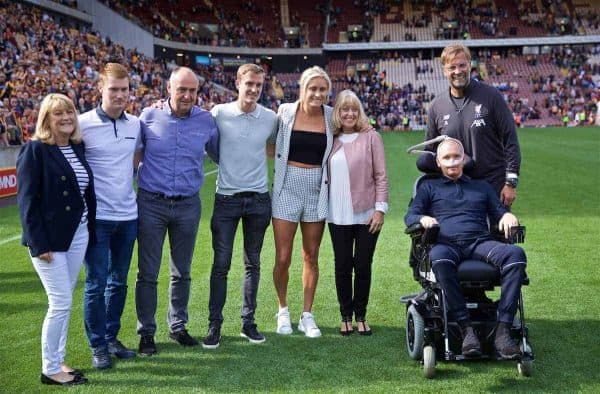 BRADFORD, ENGLAND - Saturday, July 13, 2019: Liverpool's manager Jürgen Klopp poses for a photo with Stephen Darby and his wife and Stephanie Houghton (4th from L) during a pre-season friendly match between Bradford City AFC and Liverpool FC at Valley Parade. (Pic by David Rawcliffe/Propaganda)