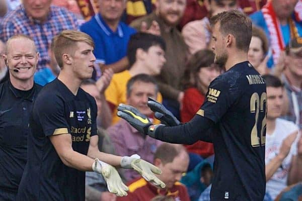 BRADFORD, ENGLAND - Saturday, July 13, 2019: Liverpool's goalkeeper Simon Mignolet is replaced by substitute goalkeeper Daniel Atherton during a pre-season friendly match between Bradford City AFC and Liverpool FC at Valley Parade. (Pic by David Rawcliffe/Propaganda)