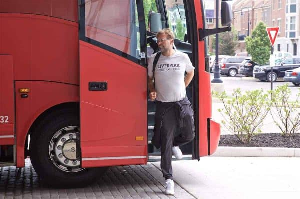 SOUTH BEND, INDIANA, USA - Tuesday, July 16, 2019: Liverpool's manager Jürgen Klopp steps off the team bus arrives at the team hotel in South Bend at the start of the club's pre-season tour of America. (Pic by David Rawcliffe/Propaganda)