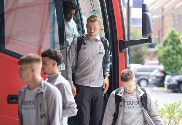 SOUTH BEND, INDIANA, USA - Tuesday, July 16, 2019: Liverpool's goalkeeper Simon Mignolet arrives at the team hotel in South Bend at the start of the club's pre-season tour of America. (Pic by David Rawcliffe/Propaganda)