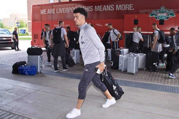 SOUTH BEND, INDIANA, USA - Tuesday, July 16, 2019: Liverpool's Curtis Jones arrives at the team hotel in South Bend at the start of the club's pre-season tour of America. (Pic by David Rawcliffe/Propaganda)