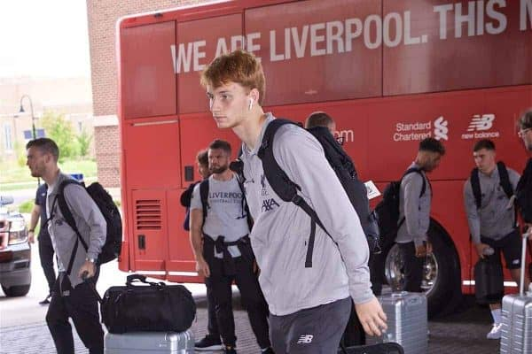 SOUTH BEND, INDIANA, USA - Tuesday, July 16, 2019: Liverpool's Sepp van den Berg arrives at the team hotel in South Bend at the start of the club's pre-season tour of America. (Pic by David Rawcliffe/Propaganda)