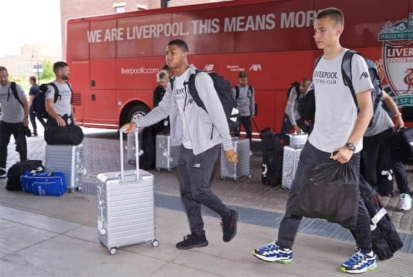 SOUTH BEND, INDIANA, USA - Tuesday, July 16, 2019: Liverpool's Rhian Brewster (L) and goalkeeper Jakub Ojrzynski arrive at the team hotel in South Bend at the start of the club's pre-season tour of America. (Pic by David Rawcliffe/Propaganda)