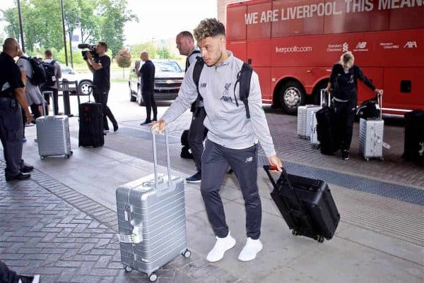 SOUTH BEND, INDIANA, USA - Tuesday, July 16, 2019: Liverpool's Alex Oxlade-Chamberlain arrives at the team hotel in South Bend at the start of the club's pre-season tour of America. (Pic by David Rawcliffe/Propaganda)