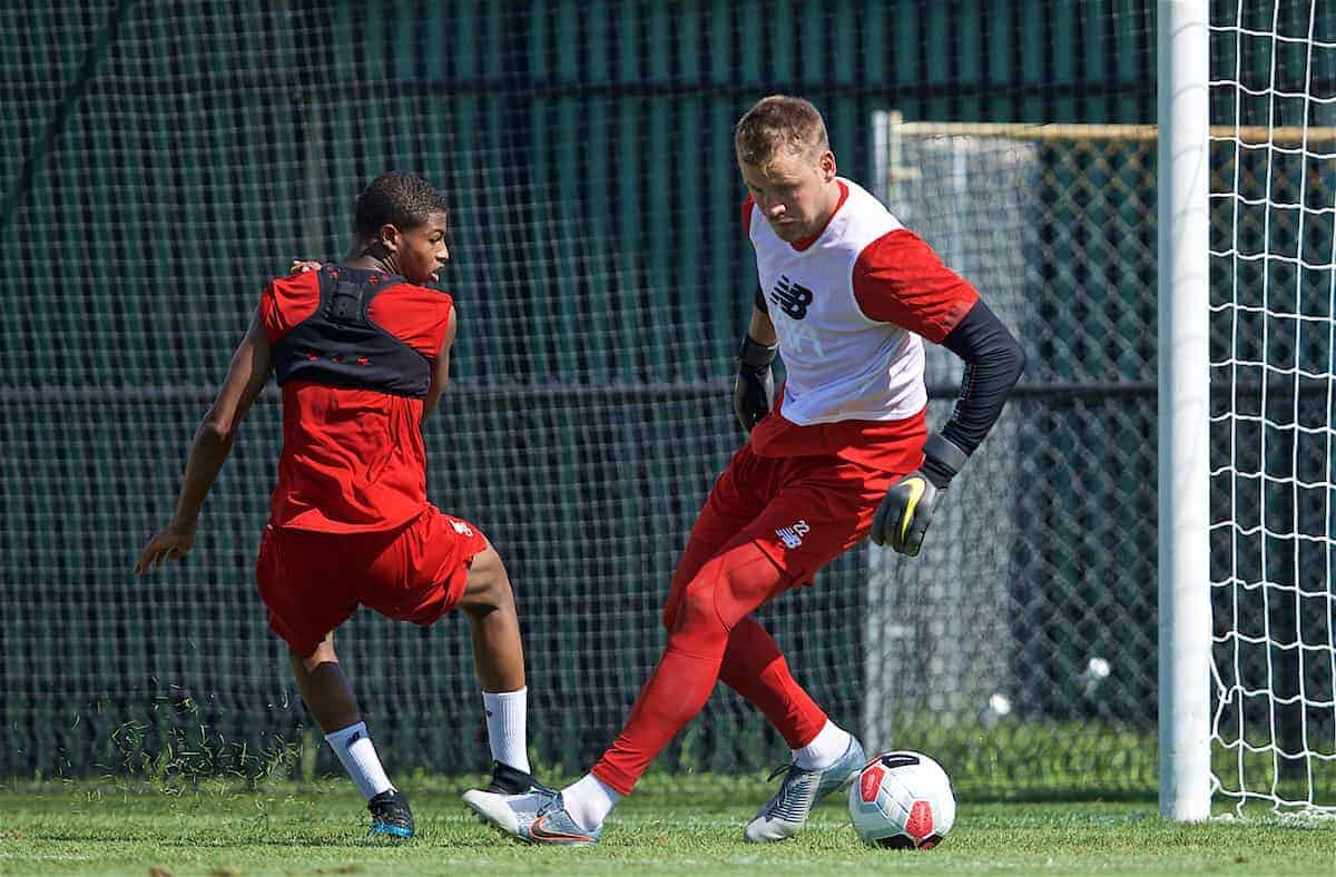 SOUTH BEND, INDIANA, USA - Thursday, July 18, 2019: Liverpool's Rhian Brewster and goalkeeper Simon Mignolet during a training session ahead of the friendly match against Borussia Dortmund at the Notre Dame Stadium on day three of the club's pre-season tour of America. (Pic by David Rawcliffe/Propaganda)