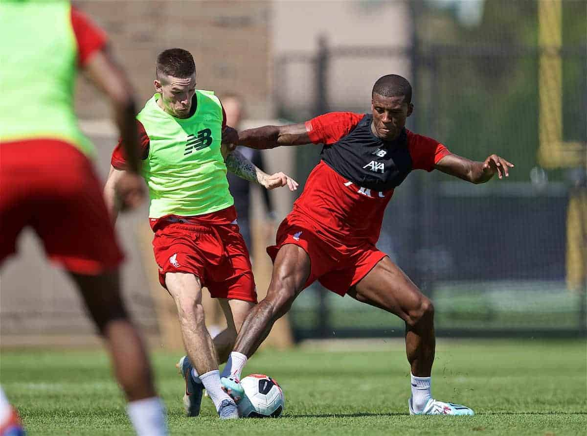 SOUTH BEND, INDIANA, USA - Thursday, July 18, 2019: Liverpool's Georginio Wijnaldum (R) tackles Ryan Kent during a training session ahead of the friendly match against Borussia Dortmund at the Notre Dame Stadium on day three of the club's pre-season tour of America. (Pic by David Rawcliffe/Propaganda)