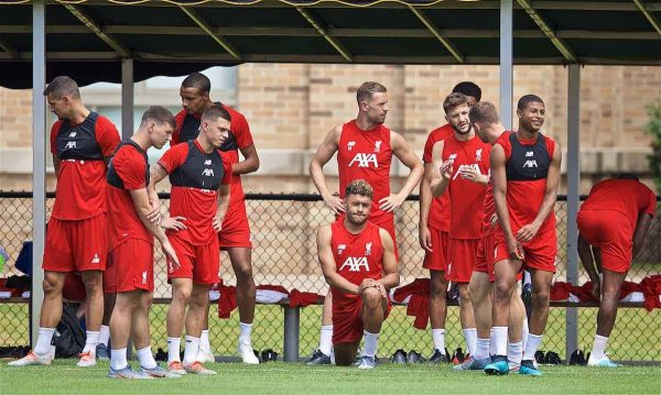 SOUTH BEND, INDIANA, USA - Thursday, July 18, 2019: Liverpool players during a training session ahead of the friendly match against Borussia Dortmund at the Notre Dame Stadium on day three of the club's pre-season tour of America. Bobby Duncan, Adam Lewis, Alex Oxlade-Chamberlain, captain Jordan Henderson, Adam Lallana and Rhian Brewster. (Pic by David Rawcliffe/Propaganda)