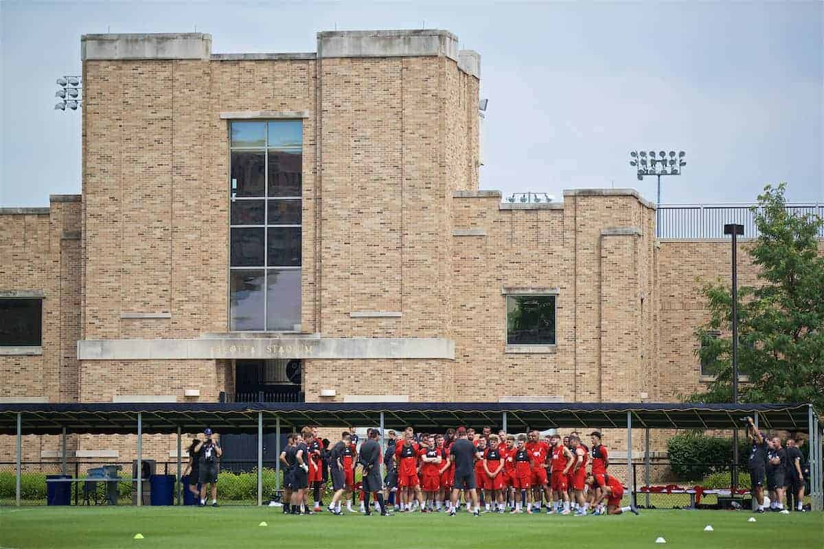 SOUTH BEND, INDIANA, USA - Thursday, July 18, 2019: Liverpool's manager Jürgen Klopp speaks to his squad before a training session ahead of the friendly match against Borussia Dortmund at the Notre Dame Stadium on day three of the club's pre-season tour of America. (Pic by David Rawcliffe/Propaganda)