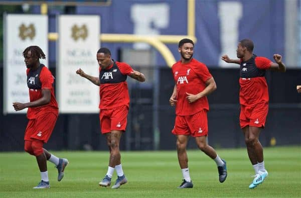 SOUTH BEND, INDIANA, USA - Thursday, July 18, 2019: Liverpool's Divock Origi, Nathaniel Clyne, Joe Gomez and Georginio Wijnaldum during a training session ahead of the friendly match against Borussia Dortmund at the Notre Dame Stadium on day three of the club's pre-season tour of America. (Pic by David Rawcliffe/Propaganda)