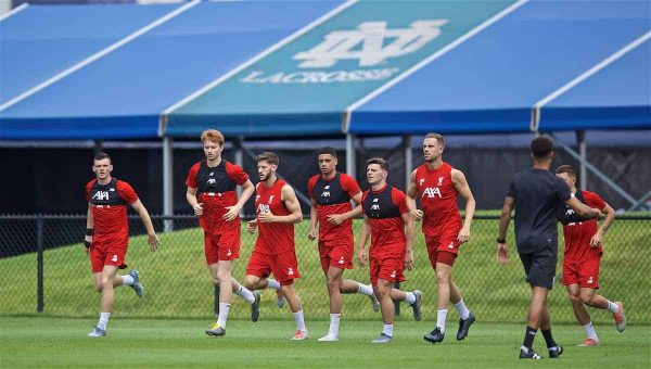 SOUTH BEND, INDIANA, USA - Thursday, July 18, 2019: Liverpool players during a training session ahead of the friendly match against Borussia Dortmund at the Notre Dame Stadium on day three of the club's pre-season tour of America. Andy Robertson, Sepp van den Berg, Adam Lallana, Ki-Jana Hoever, Bobby Duncan, captain Jordan Henderson. (Pic by David Rawcliffe/Propaganda)
