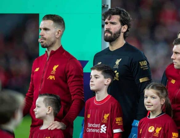 LIVERPOOL, ENGLAND - Thursday, January 2, 2020: Liverpool's captain Jordan Henderson (L) and goalkeeper Alisson Becker line-up before the FA Premier League match between Liverpool FC and Sheffield United FC at Anfield. (Pic by David Rawcliffe/Propaganda)