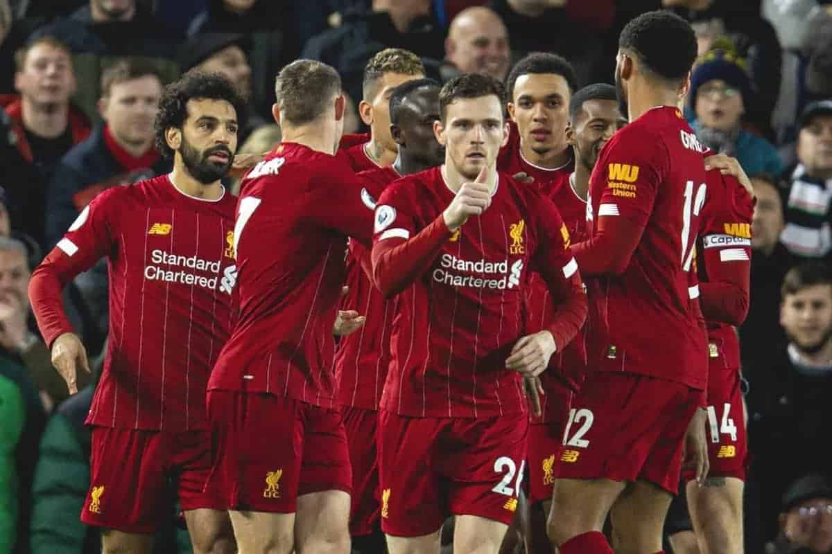 LIVERPOOL, ENGLAND - Thursday, January 2, 2020: Liverpool's Mohamed Salah (L) celebrates scoring the first goal with team-mates during the FA Premier League match between Liverpool FC and Sheffield United FC at Anfield. (Pic by David Rawcliffe/Propaganda)