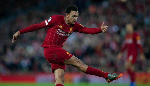 LIVERPOOL, ENGLAND - Thursday, January 2, 2020: Liverpool's Trent Alexander-Arnold during the FA Premier League match between Liverpool FC and Sheffield United FC at Anfield. (Pic by David Rawcliffe/Propaganda)