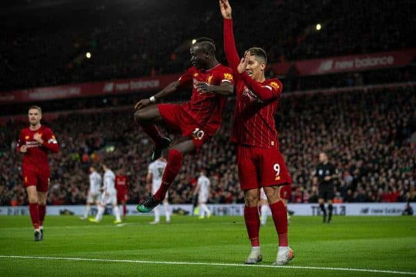 LIVERPOOL, ENGLAND - Thursday, January 2, 2020: Liverpool's Sadio Mané (L) celebrates scoring the second goal with team-mate Roberto Firmino during the FA Premier League match between Liverpool FC and Sheffield United FC at Anfield. Liverpool won 2-0. (Pic by David Rawcliffe/Propaganda)