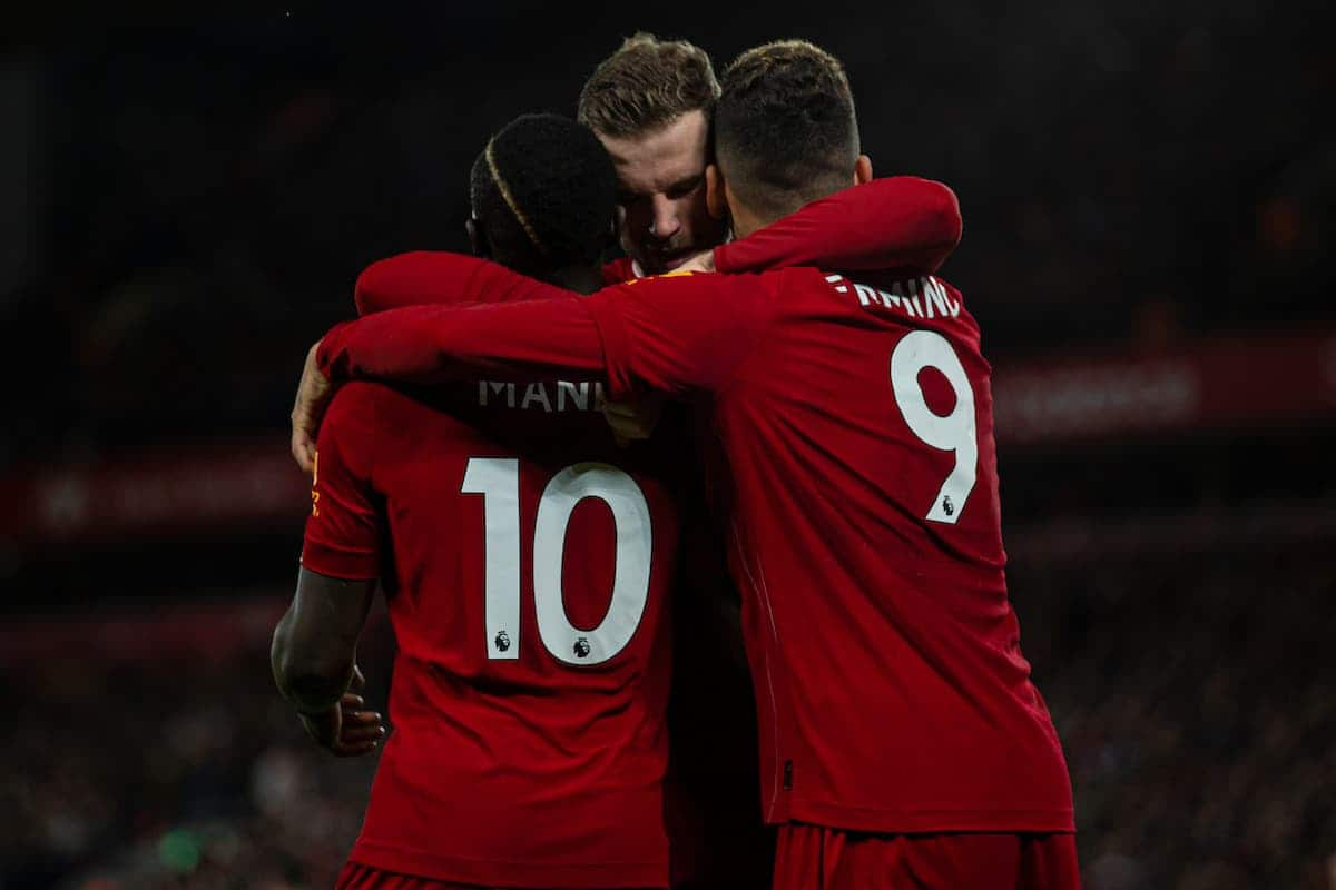 LIVERPOOL, ENGLAND - Thursday, January 2, 2020: Liverpool's Sadio Mané (L) celebrates scoring the second goal with team-mates captain Jordan Henderson (C) and Roberto Firmino during the FA Premier League match between Liverpool FC and Sheffield United FC at Anfield. Liverpool won 2-0. (Pic by David Rawcliffe/Propaganda)