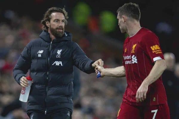 LIVERPOOL, ENGLAND - Thursday, January 2, 2020: Liverpool's head of fitness and conditioning Andreas Kornmayer hands an energy gel to James Milner during the FA Premier League match between Liverpool FC and Sheffield United FC at Anfield. (Pic by David Rawcliffe/Propaganda)