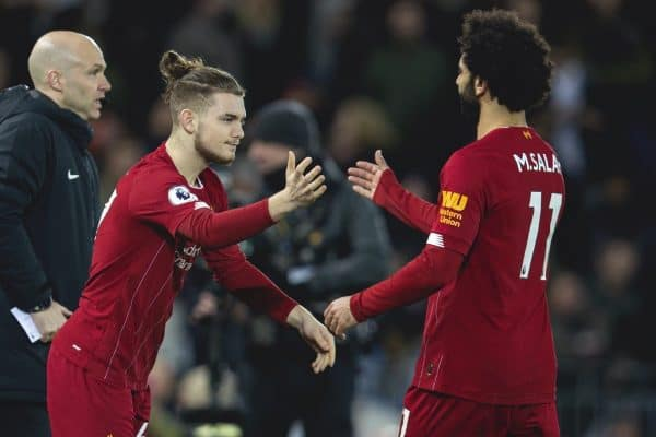 LIVERPOOL, ENGLAND - Thursday, January 2, 2020: Liverpool's Mohamed Salah is replaced by substitute Harvey Elliott during the FA Premier League match between Liverpool FC and Sheffield United FC at Anfield. (Pic by David Rawcliffe/Propaganda)