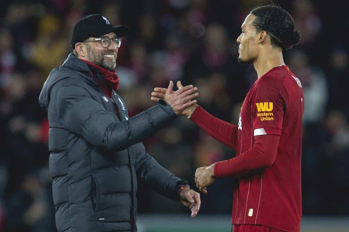 LIVERPOOL, ENGLAND - Thursday, January 2, 2020: Liverpool's manager Jürgen Klopp (L) celebrates with Virgil van Dijk after the FA Premier League match between Liverpool FC and Sheffield United FC at Anfield. Liverpool won 2-0. (Pic by David Rawcliffe/Propaganda)