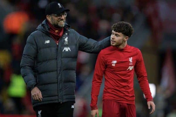 LIVERPOOL, ENGLAND - Sunday, January 5, 2020: Liverpool's Neco Williams (R) and manager Ju?rgen Klopp before the FA Cup 3rd Round match between Liverpool FC and Everton FC, the 235th Merseyside Derby, at Anfield. (Pic by David Rawcliffe/Propaganda)