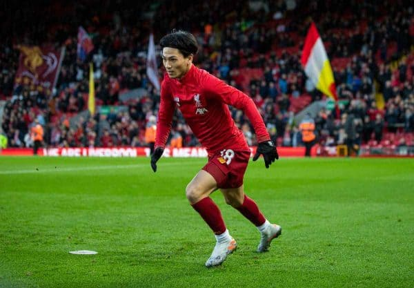 LIVERPOOL, ENGLAND - Sunday, January 5, 2020: Liverpool's new signing Japan international Takumi Minamino during the pre-match warm-up before the FA Cup 3rd Round match between Liverpool FC and Everton FC, the 235th Merseyside Derby, at Anfield. (Pic by David Rawcliffe/Propaganda)