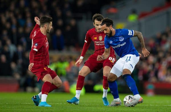 LIVERPOOL, ENGLAND - Sunday, January 5, 2020: Liverpool's Adam Lallana (L), Pedro Chirivella (C) and Everton's Theo Walcott during the FA Cup 3rd Round match between Liverpool FC and Everton FC, the 235th Merseyside Derby, at Anfield. (Pic by David Rawcliffe/Propaganda)