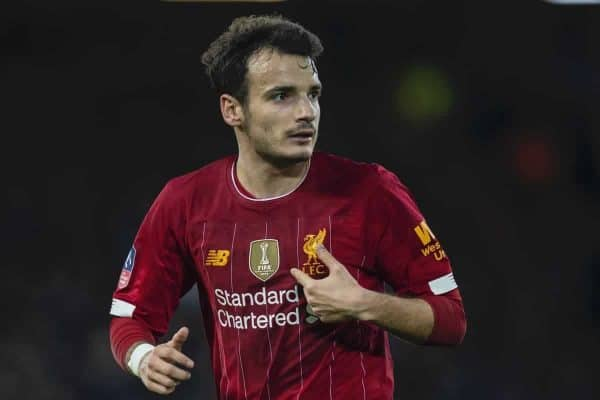 Liverpool's Pedro Chirivella during the FA Cup 3rd Round match between Liverpool FC and Everton FC, the 235th Merseyside Derby, at Anfield. (Pic by David Rawcliffe/Propaganda)