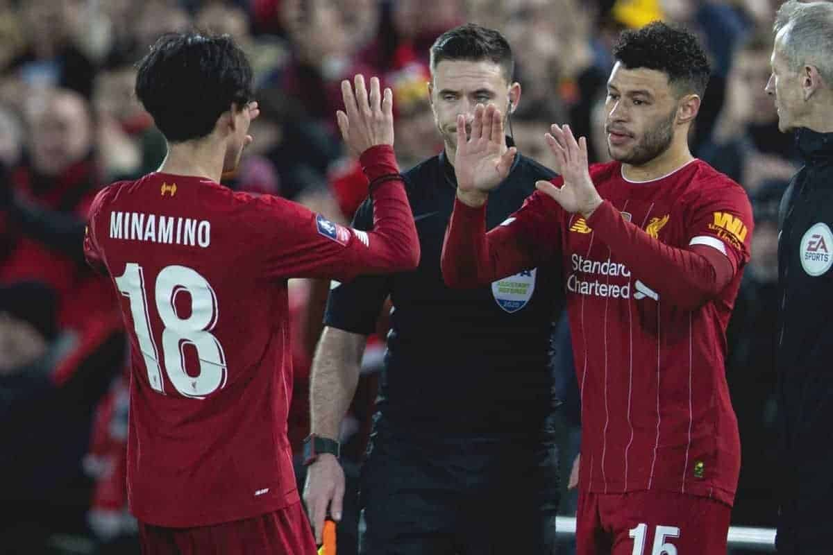LIVERPOOL, ENGLAND - Sunday, January 5, 2020: Liverpool's new signing Japan international Takumi Minamino (L) is substituted for Alex Oxlade-Chamberlain during the FA Cup 3rd Round match between Liverpool FC and Everton FC, the 235th Merseyside Derby, at Anfield. (Pic by David Rawcliffe/Propaganda)