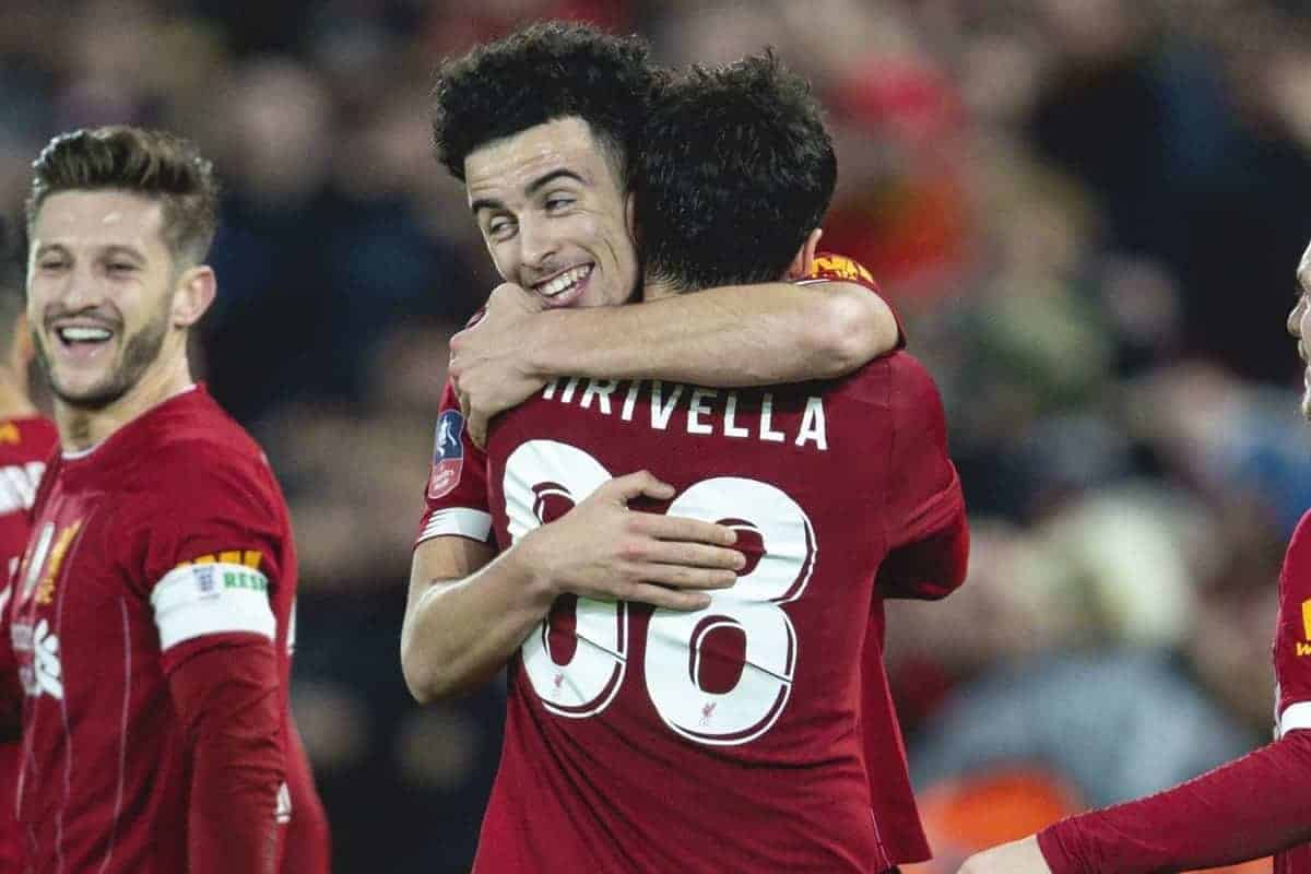 LIVERPOOL, ENGLAND - Sunday, January 5, 2020: Liverpool's Curtis Jones celebrates with team-mate Pedro Chirivella after scoring the winning goal, his first for the club, during the FA Cup 3rd Round match between Liverpool FC and Everton FC, the 235th Merseyside Derby, at Anfield. Liverpool won 1-0. (Pic by David Rawcliffe/Propaganda)