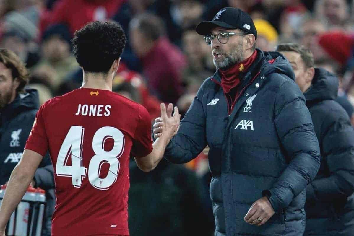 LIVERPOOL, ENGLAND - Sunday, January 5, 2020: Liverpool's Curtis Jones celebrates with manager Ju?rgen Klopp after scoring the winning goal, his first for the club, during the FA Cup 3rd Round match between Liverpool FC and Everton FC, the 235th Merseyside Derby, at Anfield. Liverpool won 1-0. (Pic by David Rawcliffe/Propaganda)