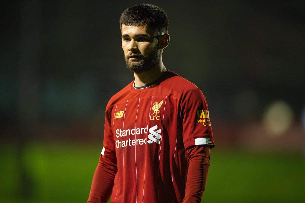 LIVERPOOL, ENGLAND - Wednesday, January 8, 2020: Liverpool's Joe Hardy during the Premier League International Cup match between Liverpool FC and Athletic Club Bilbao at the Liverpool Academy. (Pic by David Rawcliffe/Propaganda)