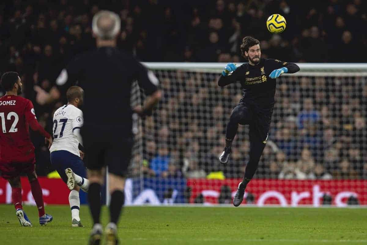 LONDON, ENGLAND - Saturday, January 11, 2020: Liverpool's goalkeeper Alisson Becker heads the ball during the FA Premier League match between Tottenham Hotspur FC and Liverpool FC at the Tottenham Hotspur Stadium. (Pic by David Rawcliffe/Propaganda)