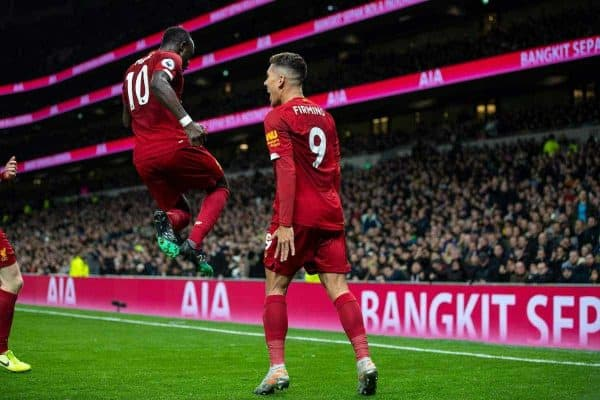 LONDON, ENGLAND - Saturday, January 11, 2020: Liverpool's Roberto Firmino celebrates after scoring the winning goal with team-mate Sadio Mané (L) during the FA Premier League match between Tottenham Hotspur FC and Liverpool FC at the Tottenham Hotspur Stadium. Liverpool won 1-0. (Pic by David Rawcliffe/Propaganda)