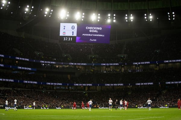 LONDON, ENGLAND - Saturday, January 11, 2020: The scoreboard shows a VAR check for a possible handball before awarding the goal to Liverpool during the FA Premier League match between Tottenham Hotspur FC and Liverpool FC at the Tottenham Hotspur Stadium. (Pic by David Rawcliffe/Propaganda)