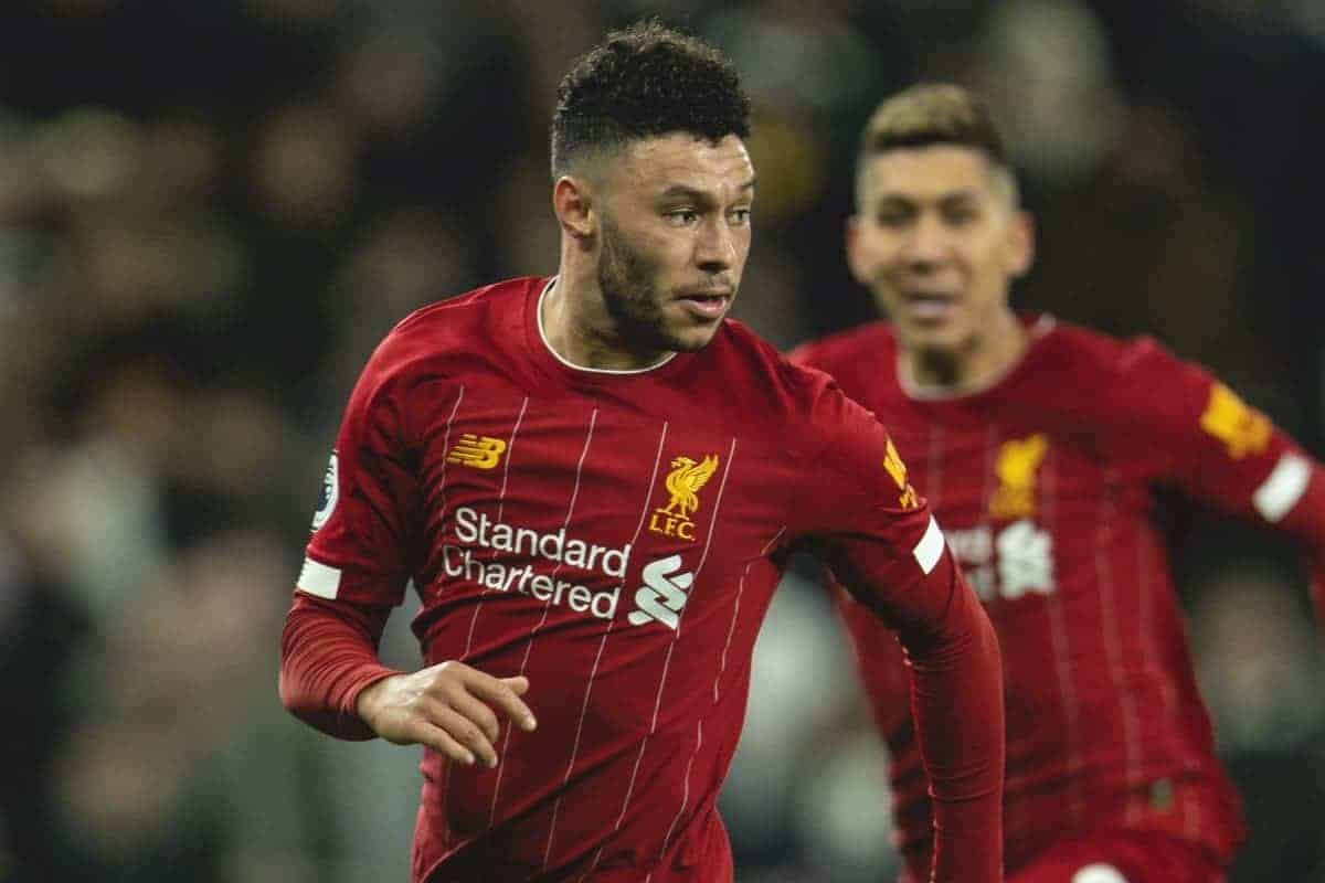 LONDON, ENGLAND - Saturday, January 11, 2020: Liverpool's Alex Oxlade-Chamberlain during the FA Premier League match between Tottenham Hotspur FC and Liverpool FC at the Tottenham Hotspur Stadium. (Pic by David Rawcliffe/Propaganda)