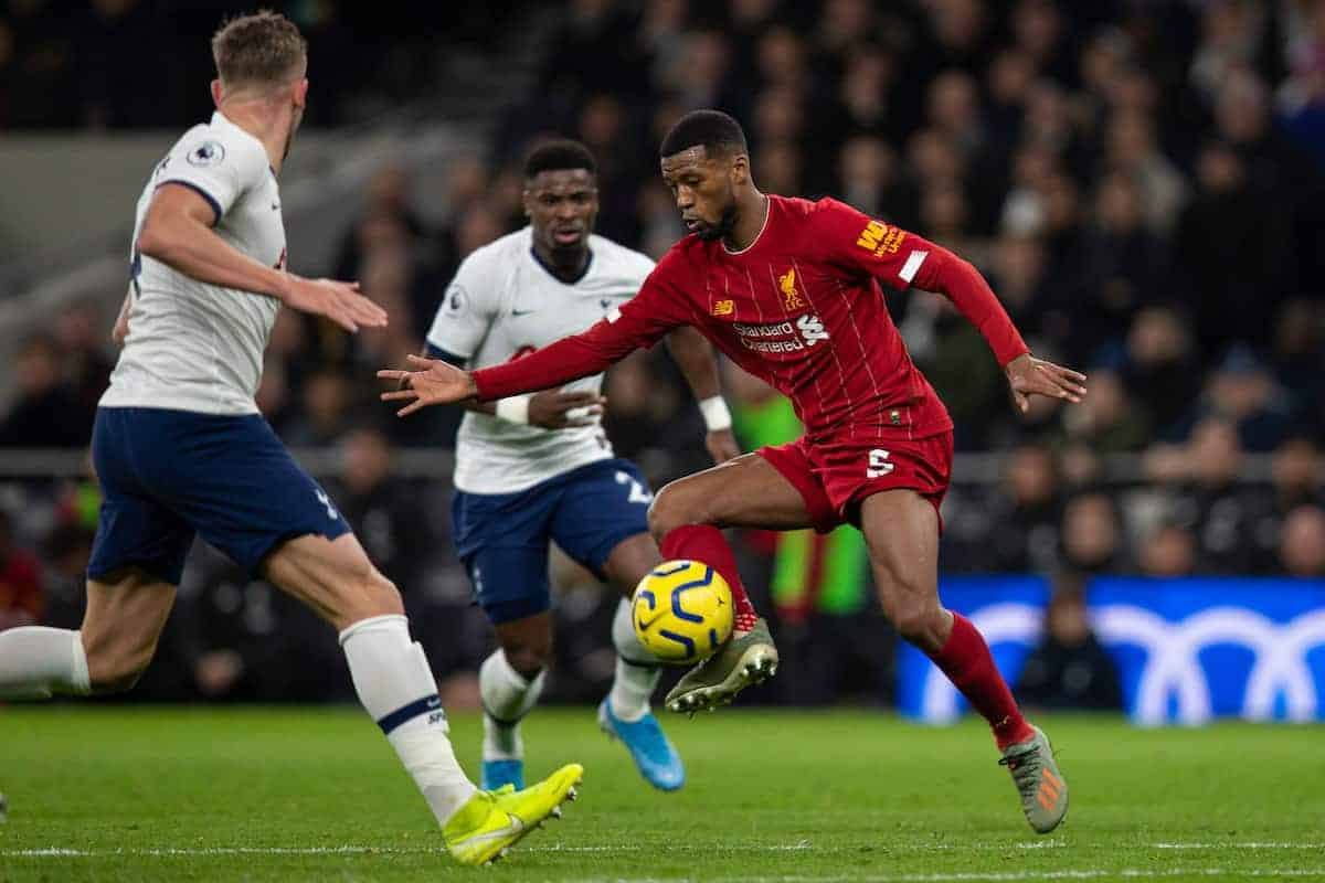 LONDON, ENGLAND - Saturday, January 11, 2020: Liverpool's Georginio Wijnaldum during the FA Premier League match between Tottenham Hotspur FC and Liverpool FC at the Tottenham Hotspur Stadium. (Pic by David Rawcliffe/Propaganda)