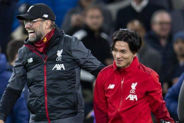 LONDON, ENGLAND - Saturday, January 11, 2020: Liverpool's manager Jürgen Klopp celebrates with new signing Japan international Takumi Minamino after the FA Premier League match between Tottenham Hotspur FC and Liverpool FC at the Tottenham Hotspur Stadium. Liverpool won 1-0. (Pic by David Rawcliffe/Propaganda)