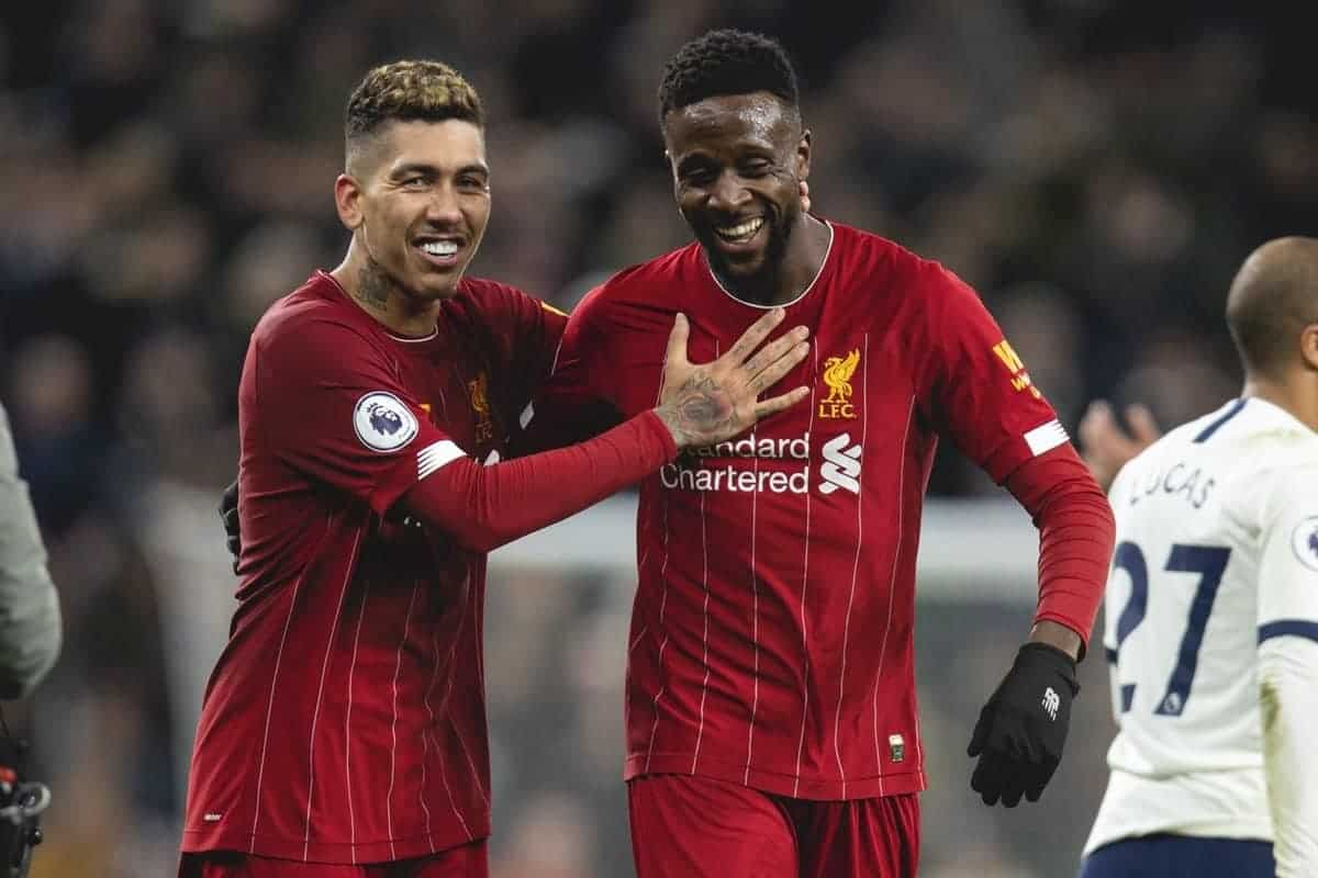 LONDON, ENGLAND - Saturday, January 11, 2020: Liverpool's Roberto Firmino (L) and Divock Origi celebrate after the FA Premier League match between Tottenham Hotspur FC and Liverpool FC at the Tottenham Hotspur Stadium. Liverpool won 1-0. (Pic by David Rawcliffe/Propaganda)
